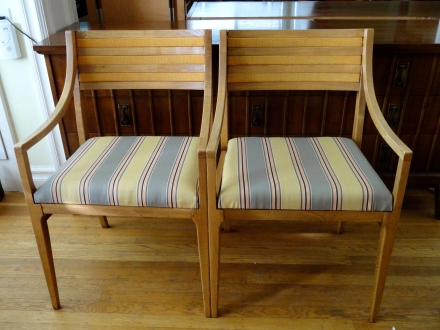 Pair of Oak Lounge Chairs:  Orange wool inlaid into backrest and new upholstered seat with new 2 inch foam!